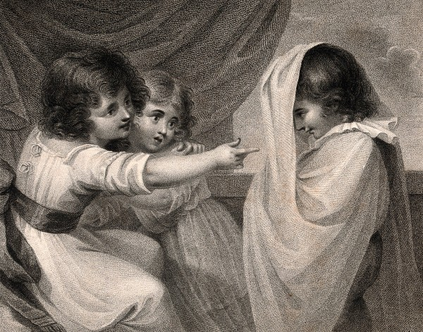 V0036040 A boy appearing to two girls as a ghost. Stipple engraving.